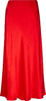 b7caceb01 Alberte Siren Red Satin Midi Skirt. finery london
