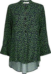 Aria Navy And Green Bluebell Print Shirt