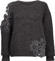 Cortaine Grey Lace Detail Jumper
