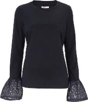 Dover Midnight Blue Lace Flute Sleeve Tee