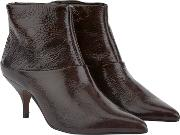 Patty Mahogany Patent Leather Ankle Boot