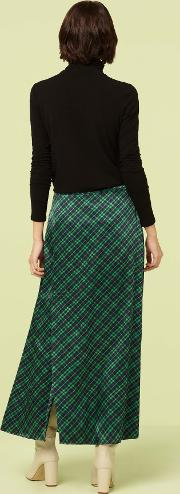 Rose Purple And Green Checked Wrap Skirt