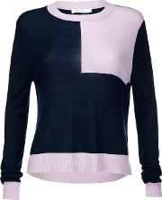 Roux Navy And Lilac Knitted Jumper