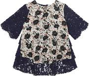 Selby Lace Back Tee In Scratchy Floral