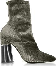 Kyoto Olive Velvet Stretch High Heel Ankle Boots