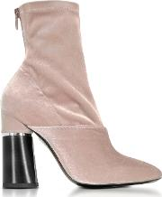 Kyoto Blush Velvet Stretch High Heel Ankle Boots