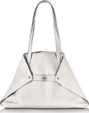 Ai Small White Leather Tote Bag