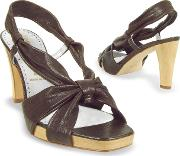 Dark Brown Leather Straps Platform Sandal Shoes