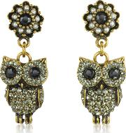 Alcozer & J Earrings, Hanging Goldtone Brass Wcrystals Drop Earrings