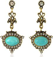 Alcozer & J Earrings, Magnesite Goldtone Brass Earrings Wcrystals
