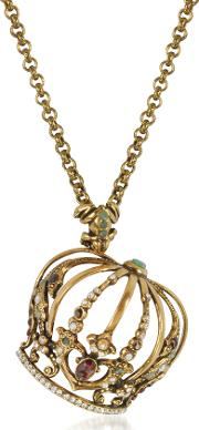 Crown Golden Brass Necklace Wfrog