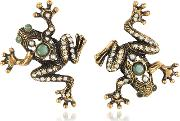 Frog Earrings Wcrystals