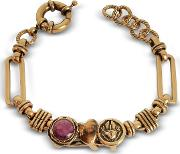 Golden Brass Bracelet Wgemstone
