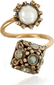 Pyramid And Pearl Ring Wgemstones