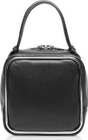 Black Supple Leather Halo Top Handle Satchel Bag