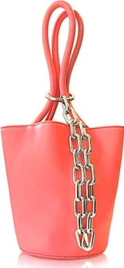 Fluo Coral Leather Roxy Mini Bucket Bag