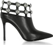 Tina Black Leather Cage Booties