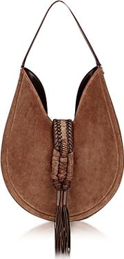 Ghianda Small Chocolate Suede Knot Hobo Bag