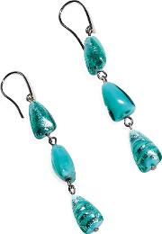 Marina 1 Turquoise Green Murano Glass And Silver Leaf Dangling Earrings