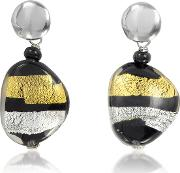 Moretta Pastel Glass Beads W24kt Gold And Silver Leaf Earrings