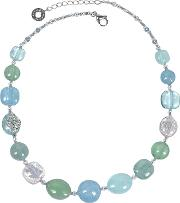 Florinda Light Blue And Green Murano Glass Beads Necklace