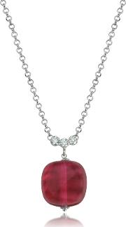 Florinda Ruby Murano Glass Sterling Silver Necklace