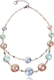 Redentore 3 Pink & Green Murano Glass And Silver Leaf Choker