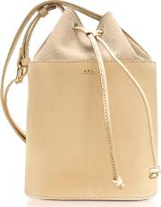 Beige Natural Smooth Leather And Nubuck Clara Bucket Bag