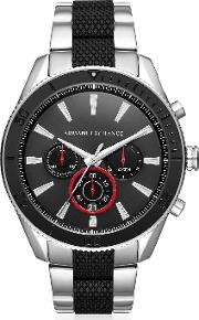 Aix Black Dial And Silver Tone Men's Chronograph Watch