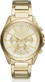 Drexler Gold Dial With Gold Tone Stainless Steel Men's Chronograph Watch