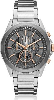 Drexler Grey Dial And Silver Tone Stainless Steel Men's Chronograph Watch