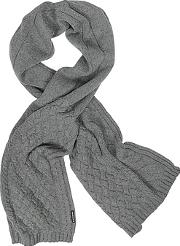 Cable Knit Wool Blend Long Scarf