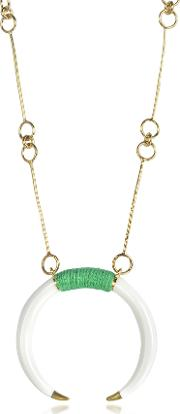 18k Gold Plated Brass And White Resin Horn Pendant Necklace