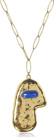 Peggy 18 K Gold Plated Long Necklace Wlapis Lazuli Stone