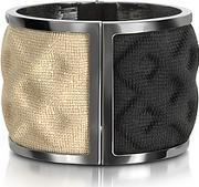 Double Ruthenium Plated Brass And Blackgold Viscose Bangle