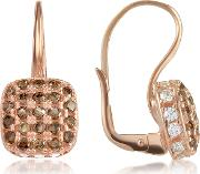 Cubic Zirconia And Sterling Silver Square Earrings