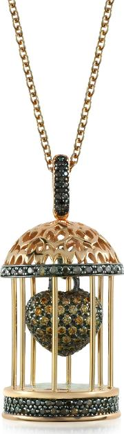 Gabbietta Silver And Zircon Cage Pendant Necklace