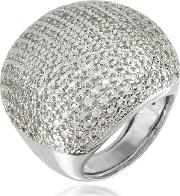Large Cubic Zirconia Sterling Silver Cocktail Ring