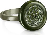 Azhar Rings, Olive Green Cubic Zirconia And Sterling Silver Ring