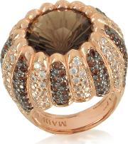 Rose Sterling Silver Riccio Ring Wtwo Tone Cubic Zirconia And Brown Stone