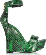 Samara Green Python Wedge Sandals