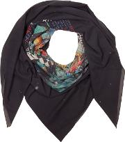 Black Cotton Printed Oversized Scarf