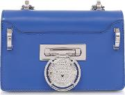 Electric Blue Smooth Leather Baby Box Flap Shoulder Bag