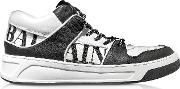 Optic White And Black Kane Leather Low Top Sneakers