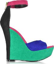 Zia Multicolor Suede Wedge Sandal