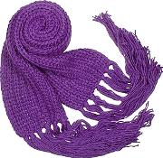 Cable Knit Fringed Long Scarf