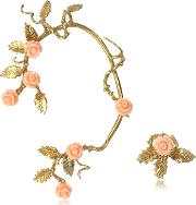 Bronze Ear Cuff Wpale Pink Resin Roses