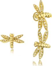 Bernard Delettrez Earrings, Dragonflies 18k Gold Earrings Wdiamonds