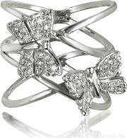 Bernard Delettrez Rings, Criss Cross 18k White Gold Ring Wtwo Diamond Butterflies