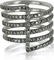 Bernard Delettrez Rings, Four Bands 9k White Gold Ring Wgrey Diamonds Pave